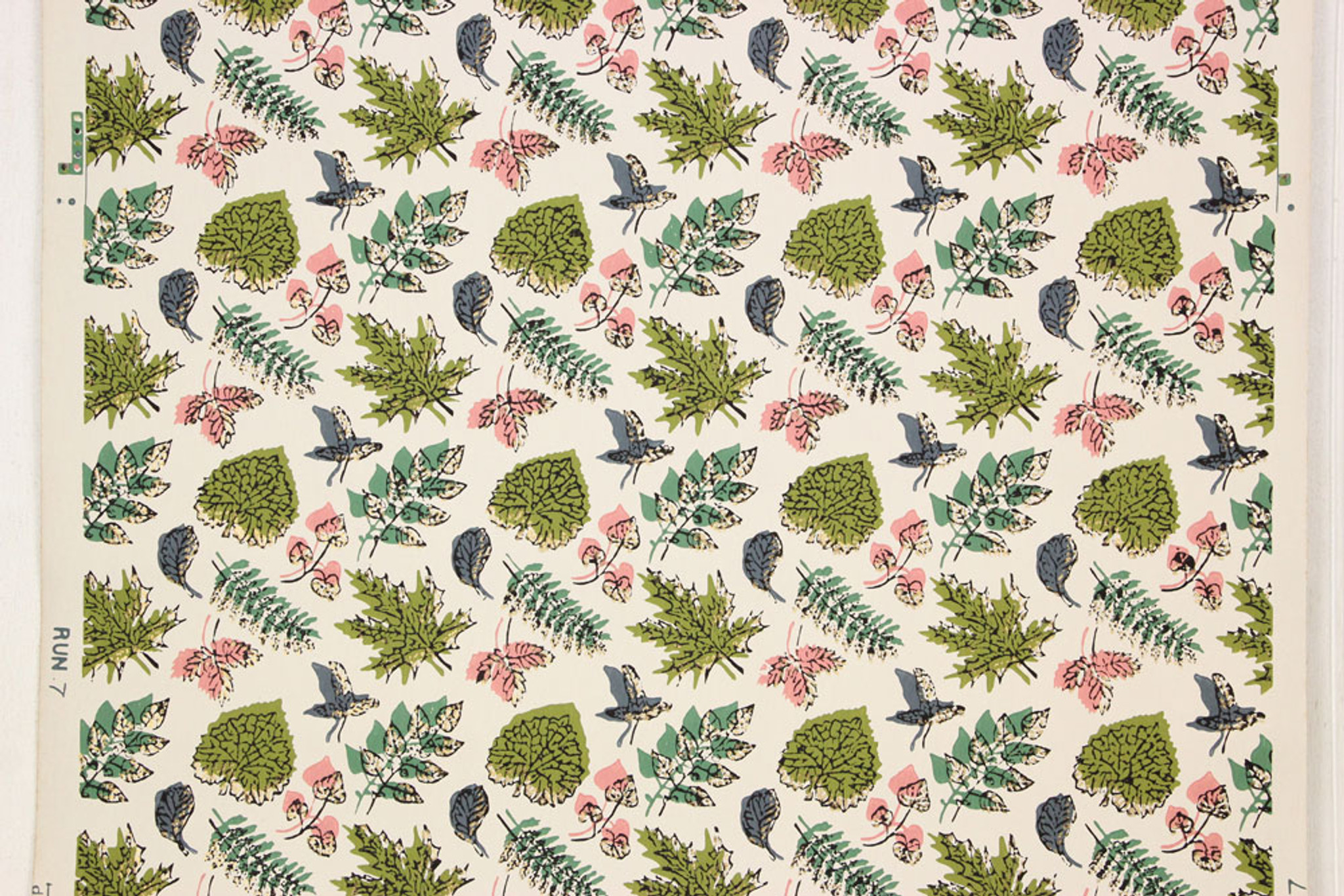 1940s Vintage Wallpaper Pink Green And Blue Leaves Rosie S