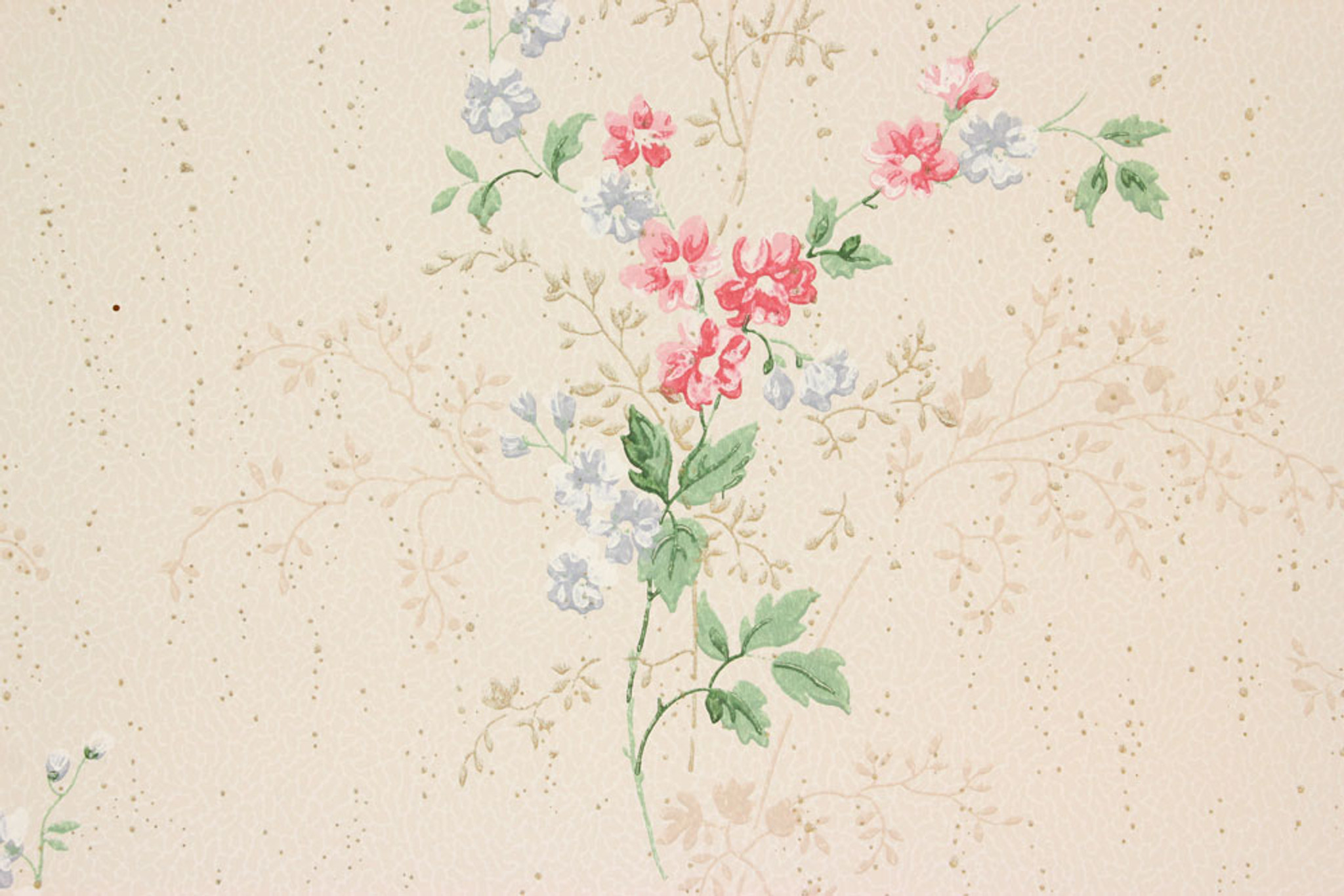 1940s Vintage Wallpaper Pink And Blue Flower Bouquets Rosie S