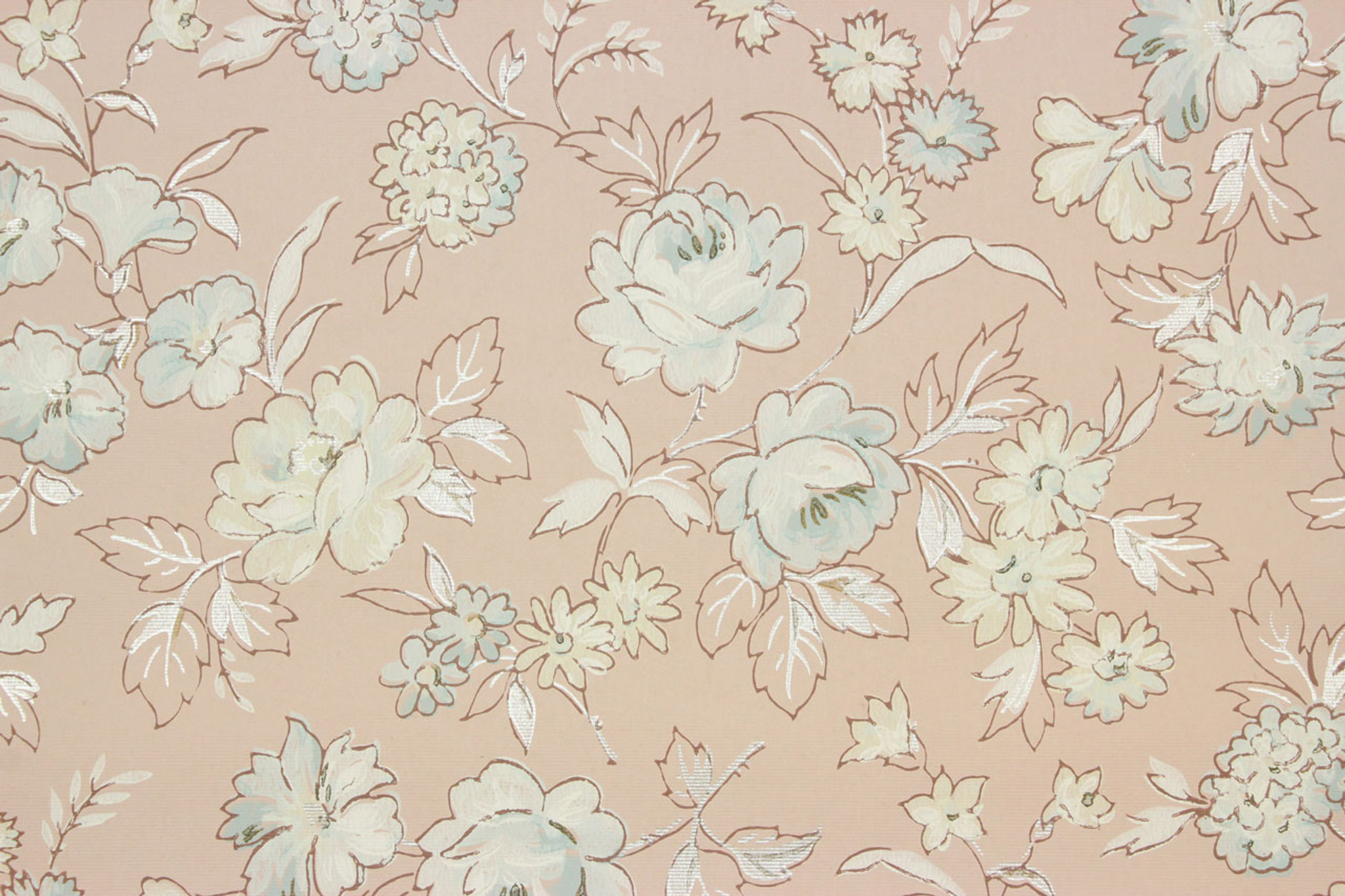 1940s Vintage Wallpaper Blue Roses On Pink Rosie S Vintage Wallpaper