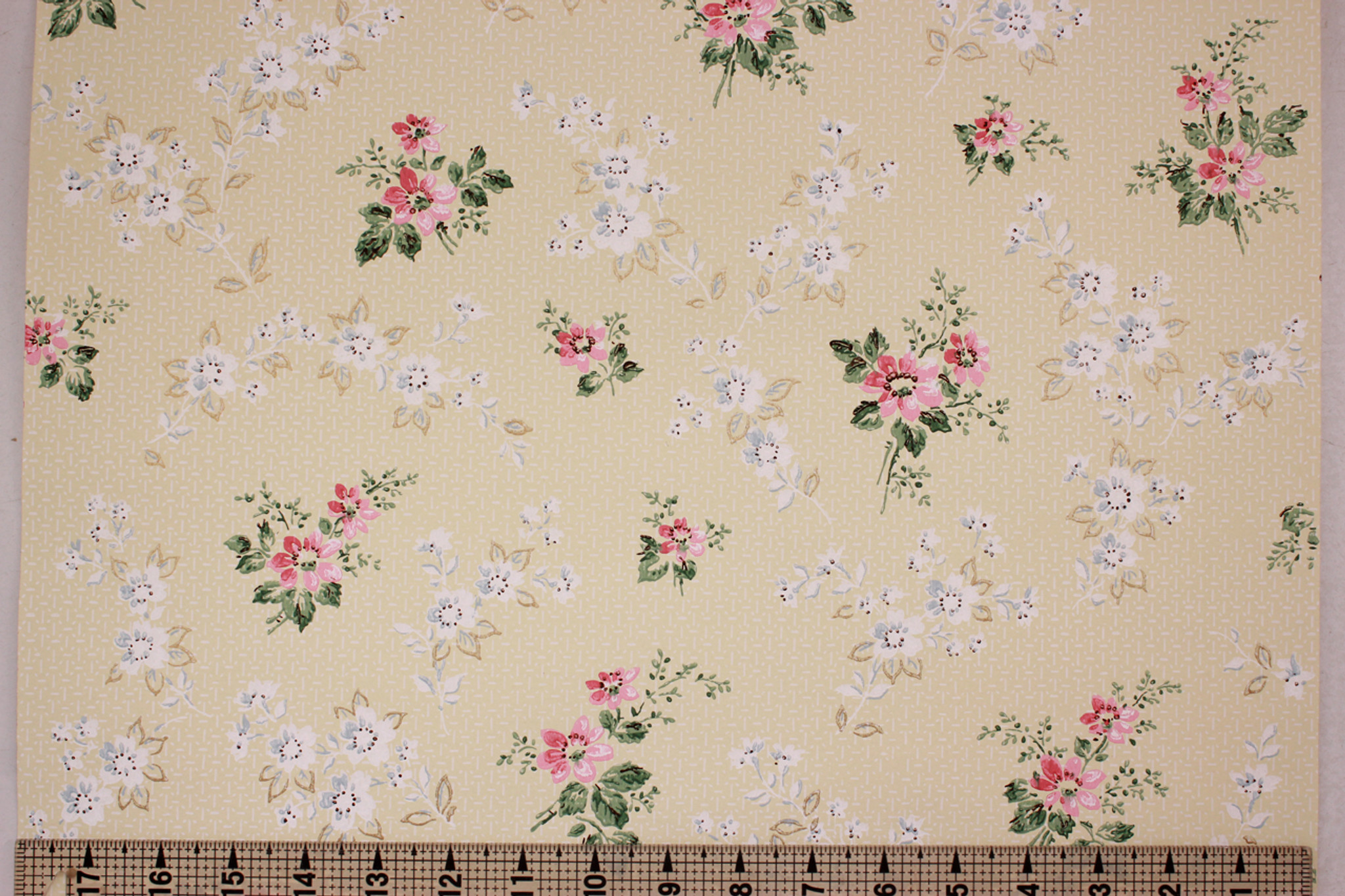 1950s Vintage Wallpaper Pink And White Floral On Yellow Rosie S
