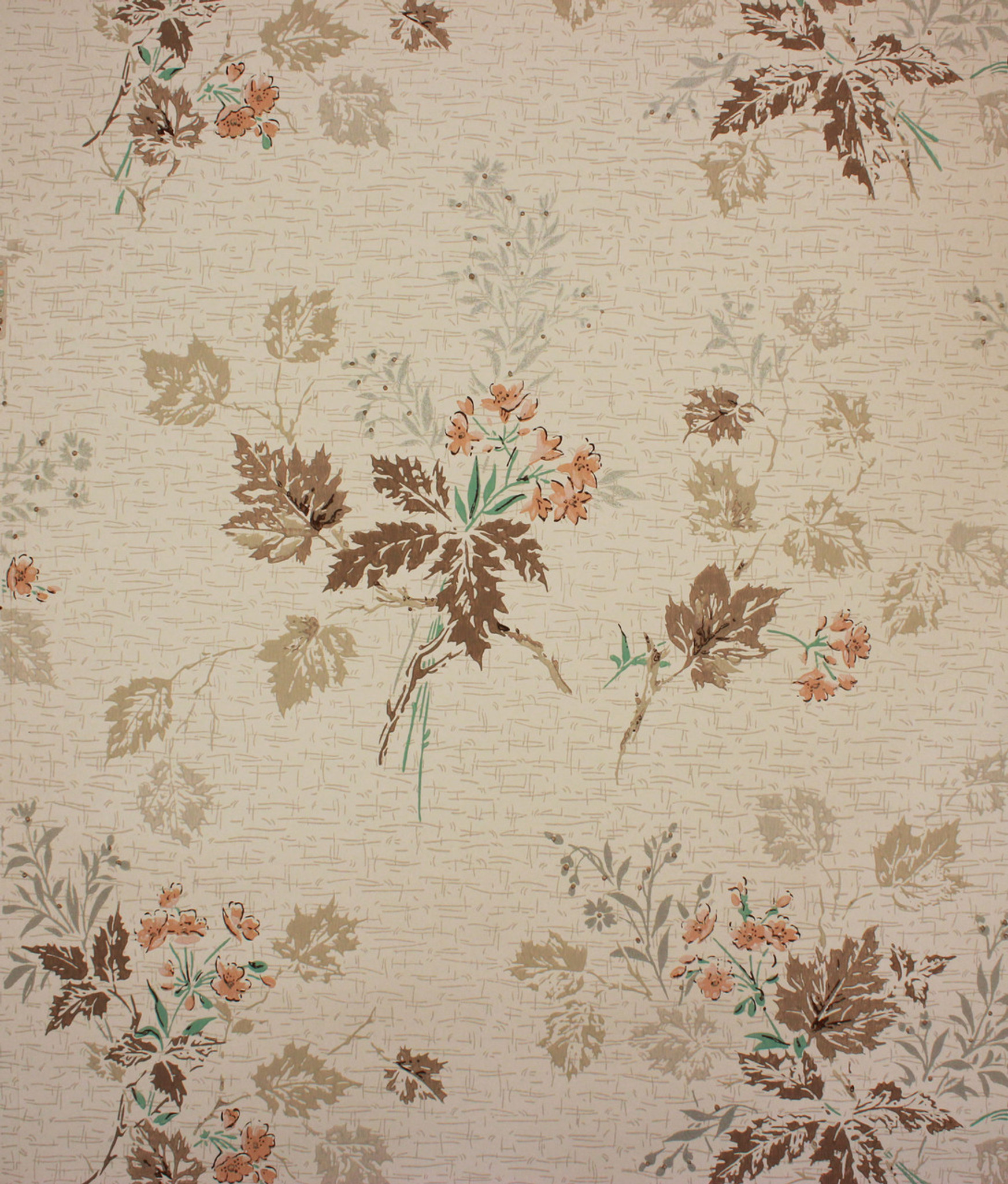 1950s Vintage Wallpaper Pink Flower Turquoise Leaves Rosie S