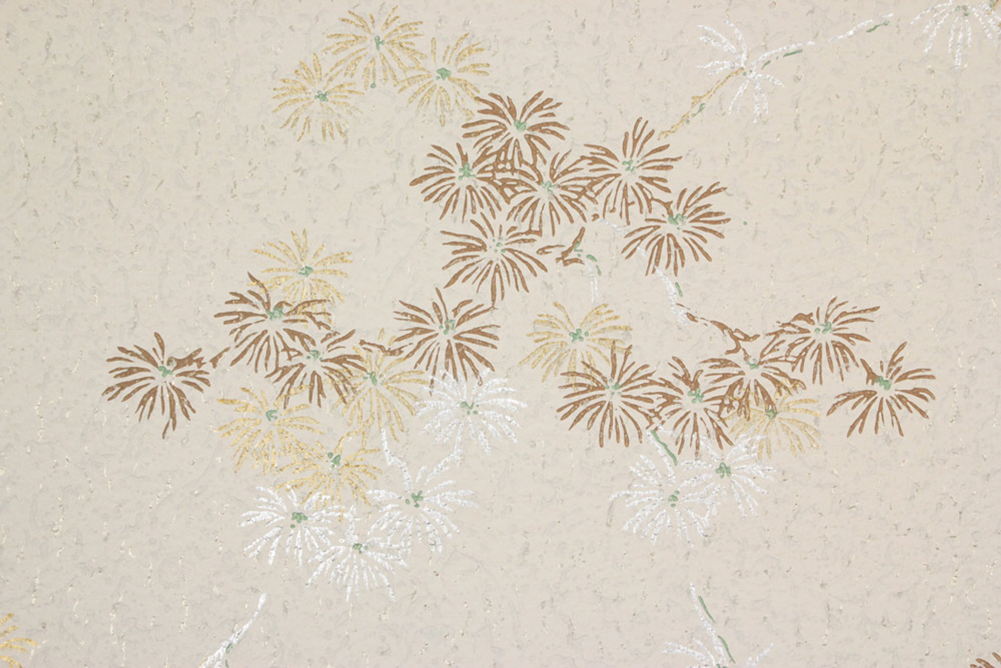 1950s Vintage Wallpaper Brown Gold And Silver Flowers Rosie S