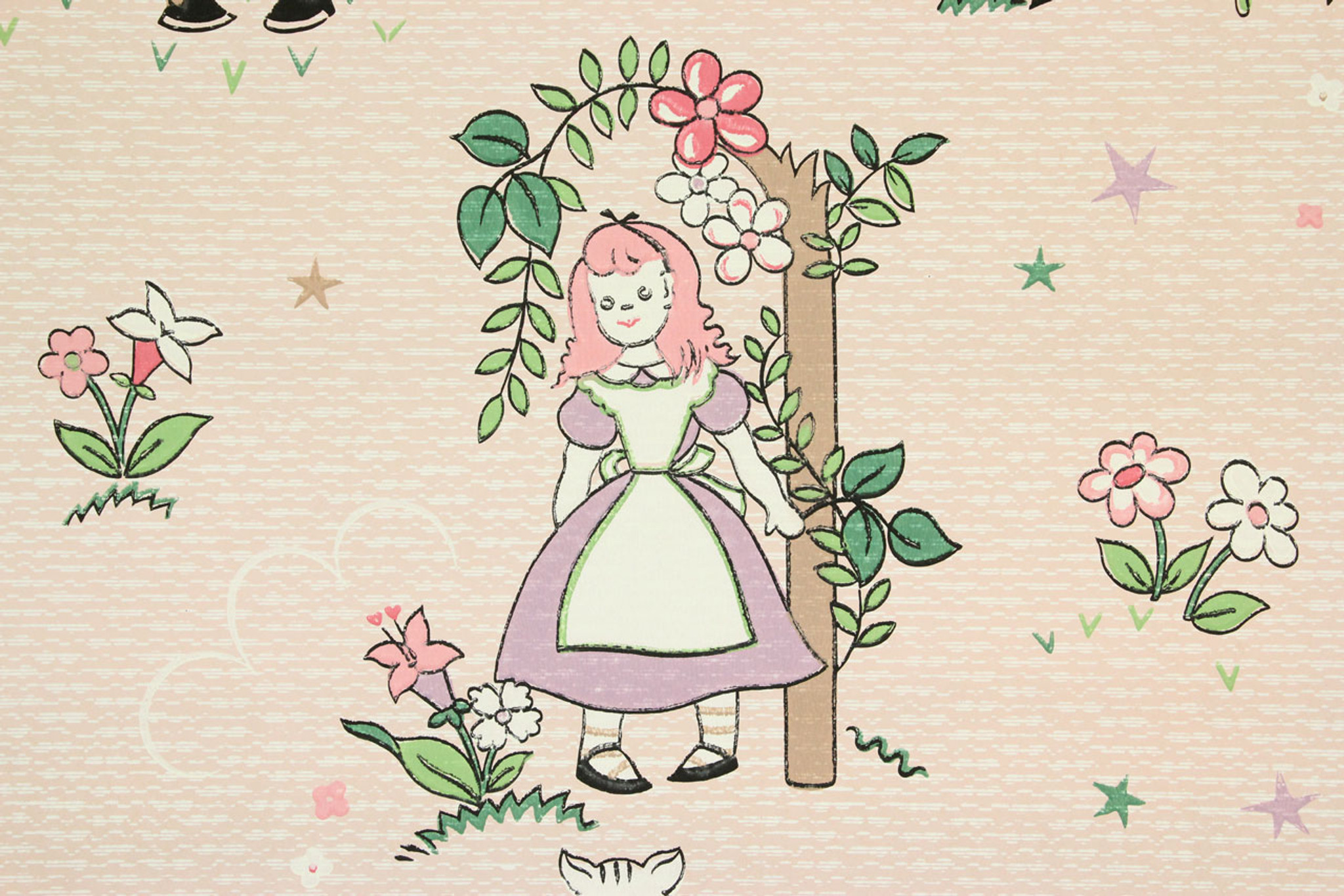 1940s Vintage Wallpaper Alice In Wonderland Character Knight White
