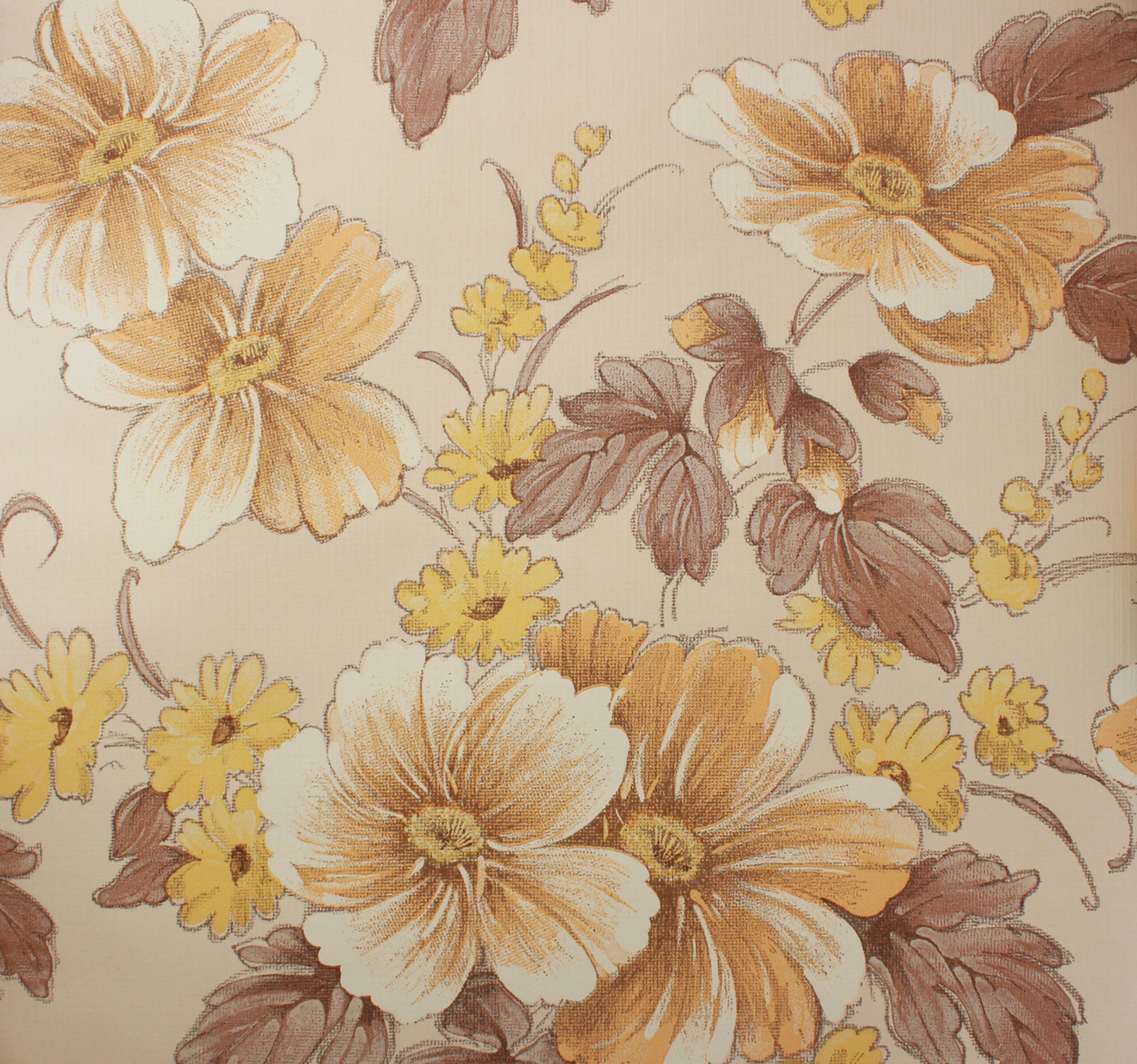 1970s Vintage Wallpaper Large Flowers Yellow And Brown Rosie S
