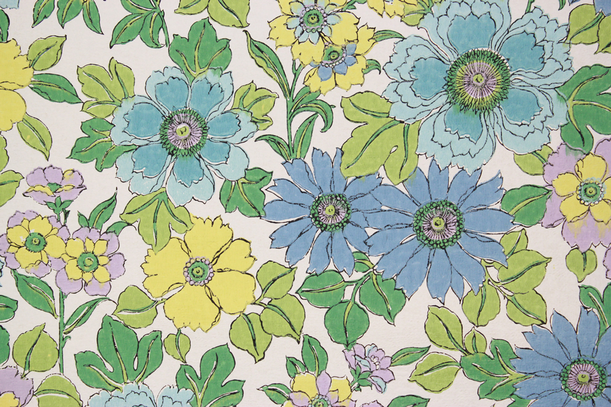 1970s Vintage Wallpaper Retro Blue And Green Flowers Rosie S