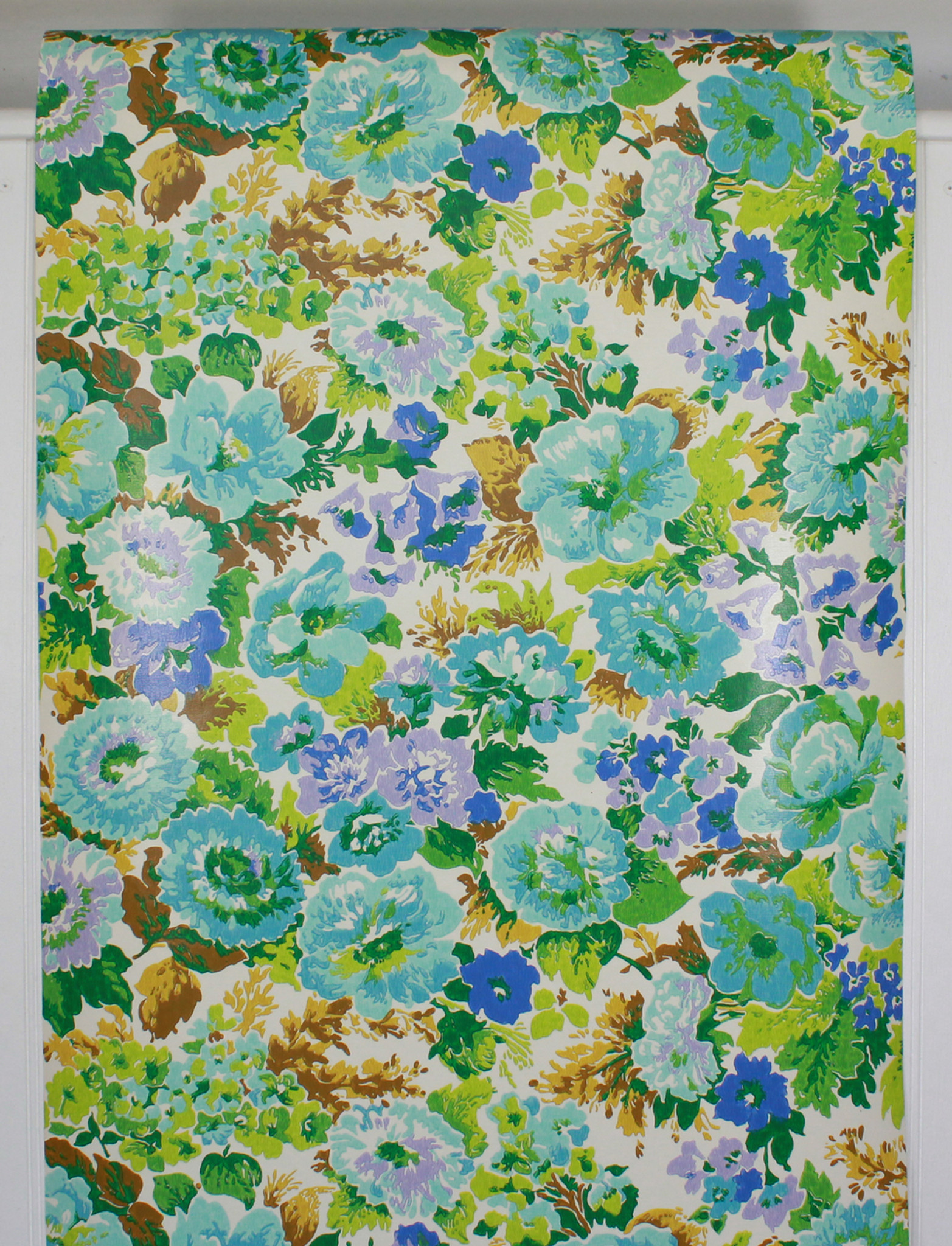 1970s Vintage Wallpaper Retro Blue And Aqua Flowers Rosie S