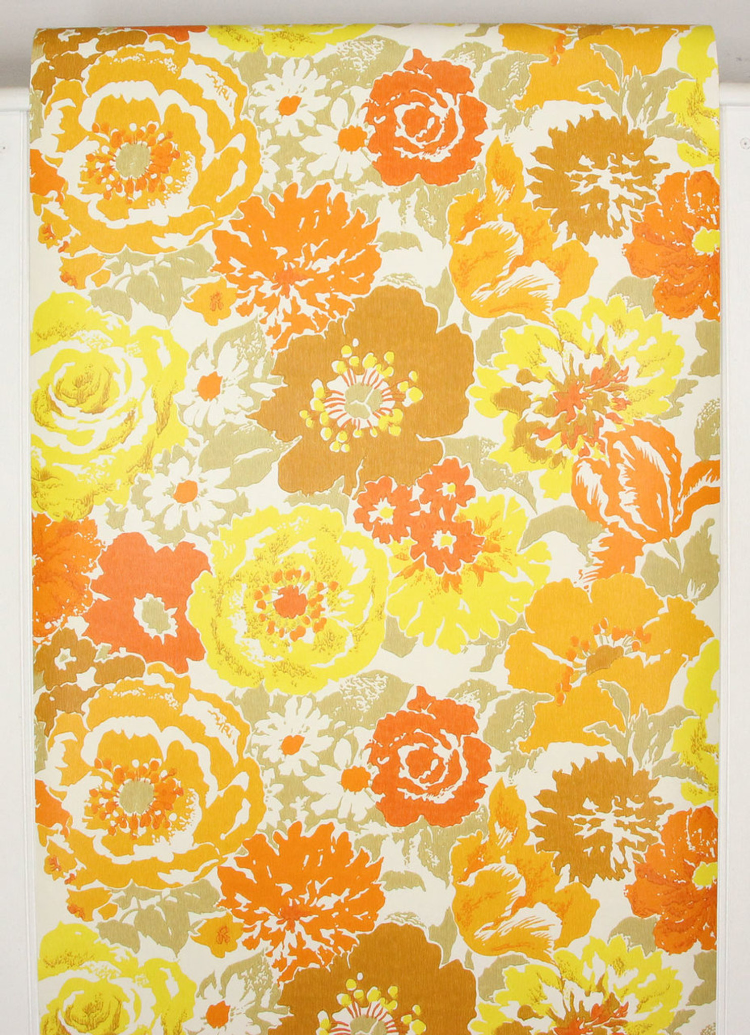 1970s Vintage Wallpaper Retro Brown Orange And Yellow