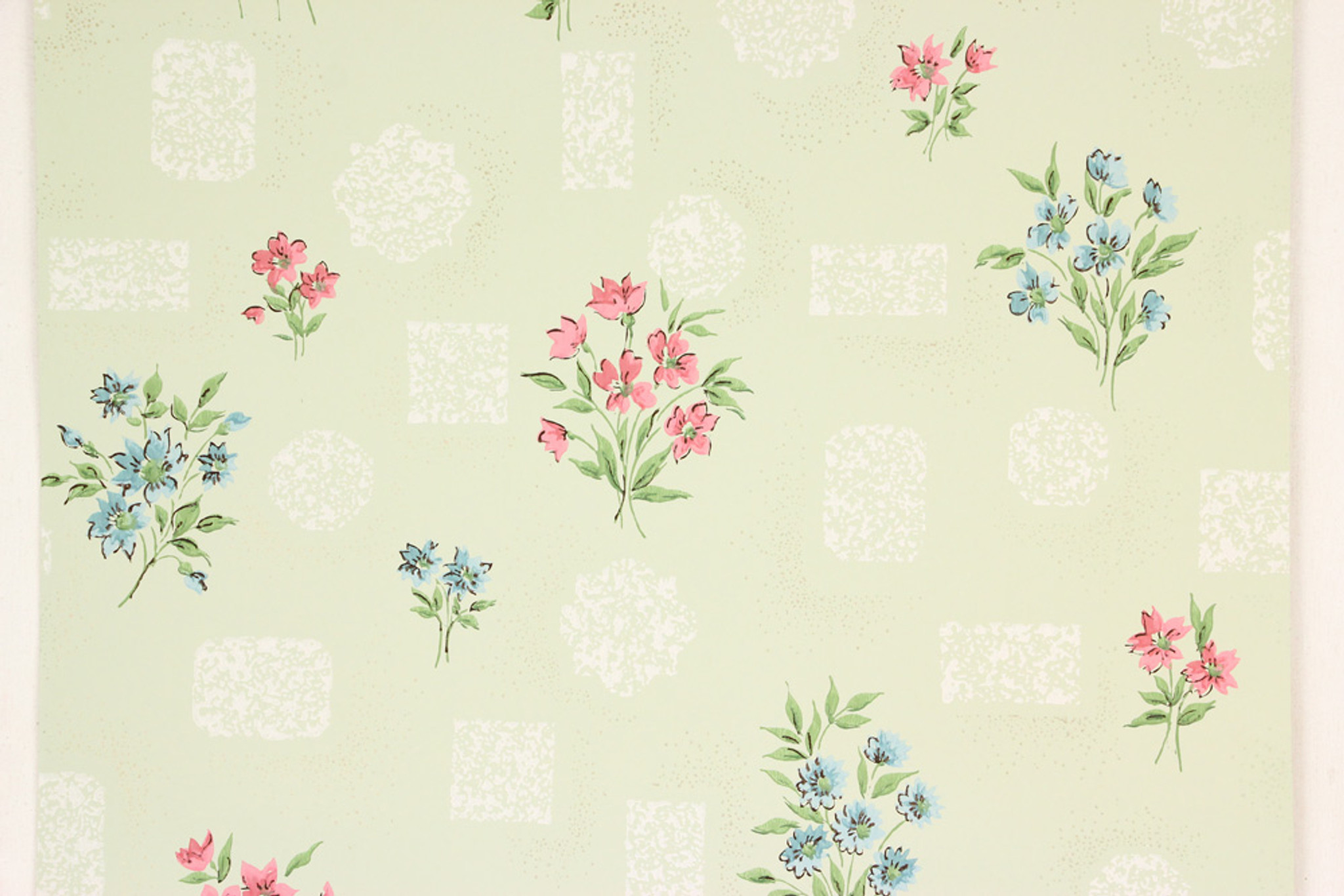 1960s Vintage Wallpaper Pink Blue Flower Bouquets Rosie S
