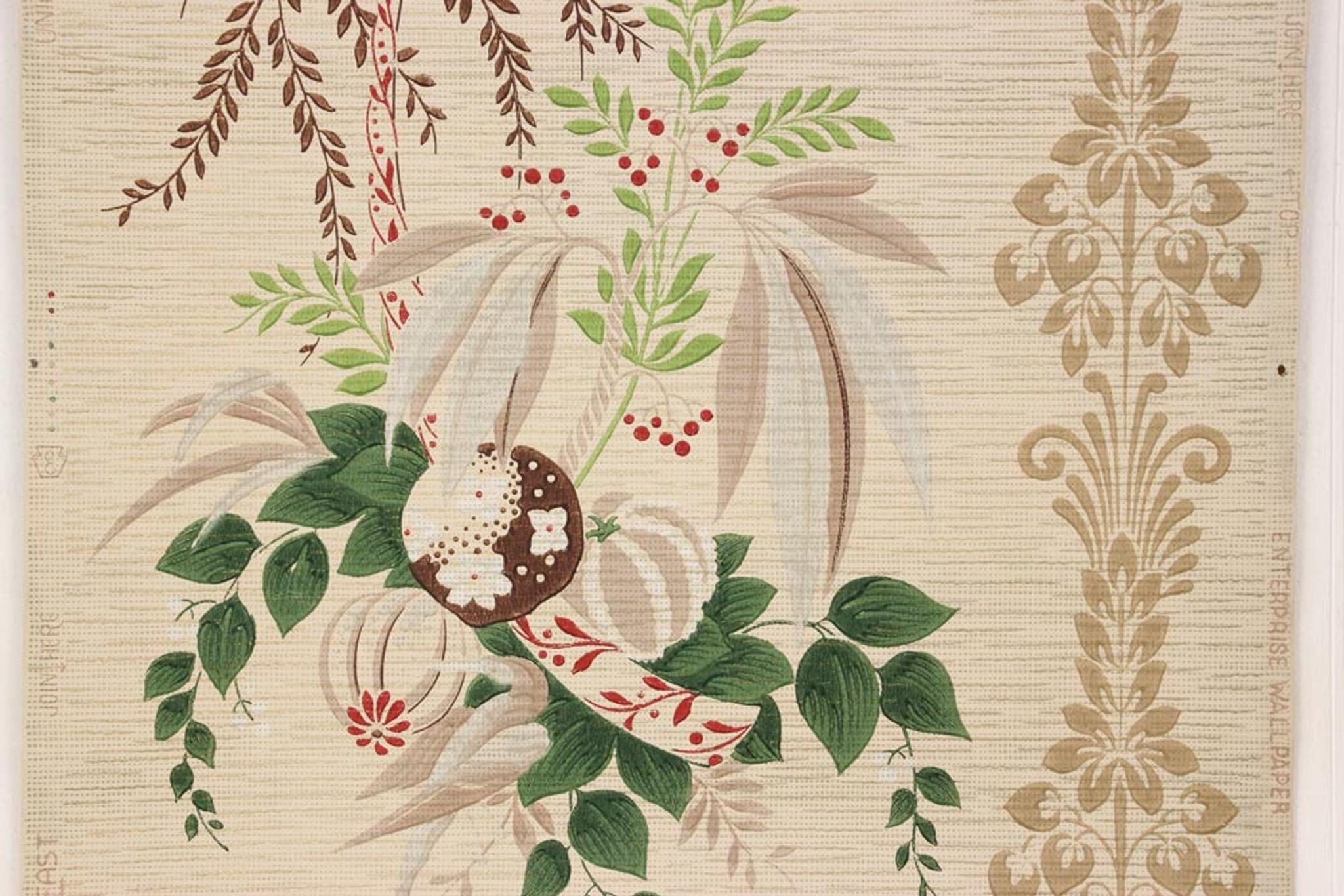 1940s Vintage Wallpaper Tropical Flowers Leaves On Beige Rosies