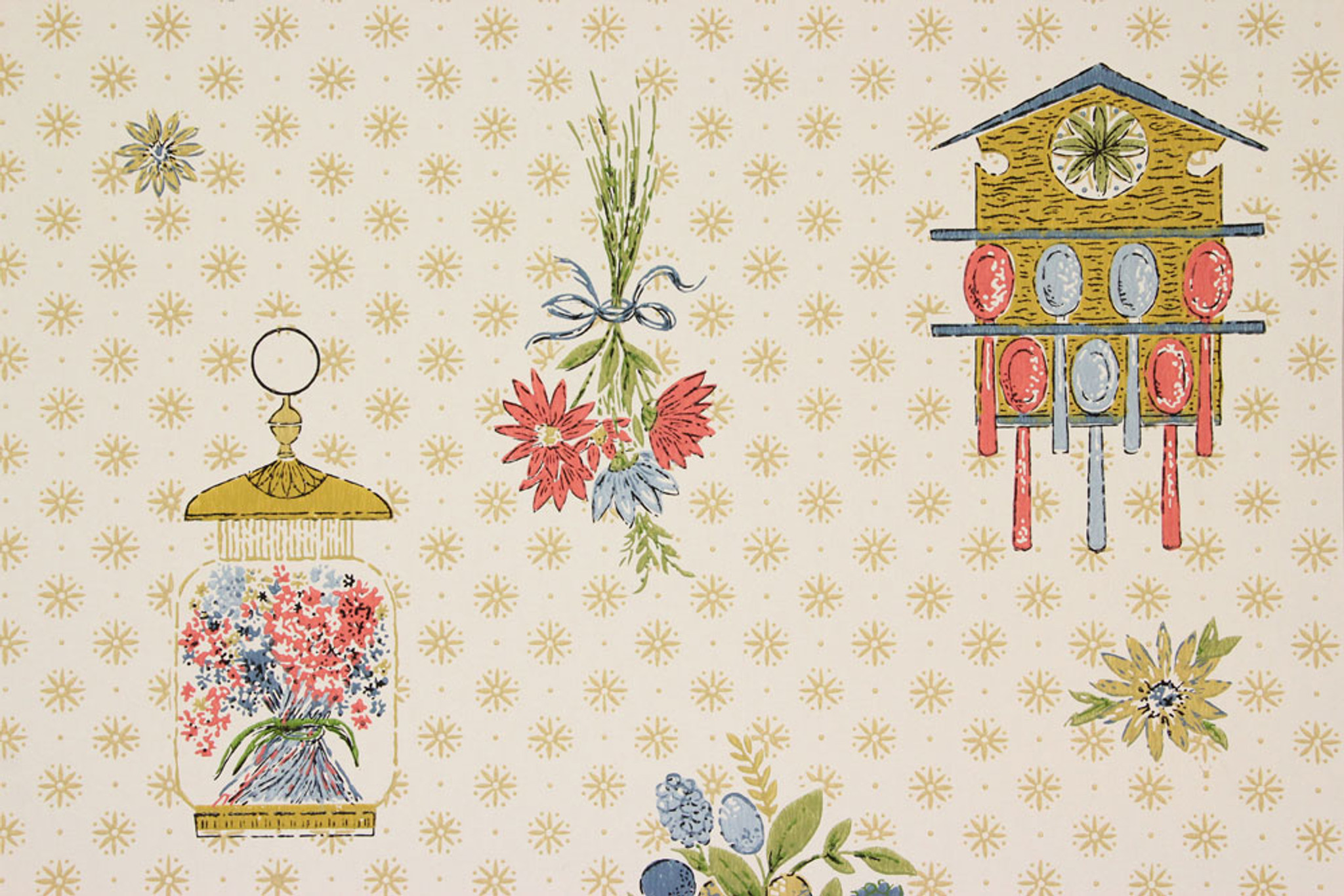 1960s Vintage Wallpaper Red Blue Kitchen Rosie S Vintage Wallpaper