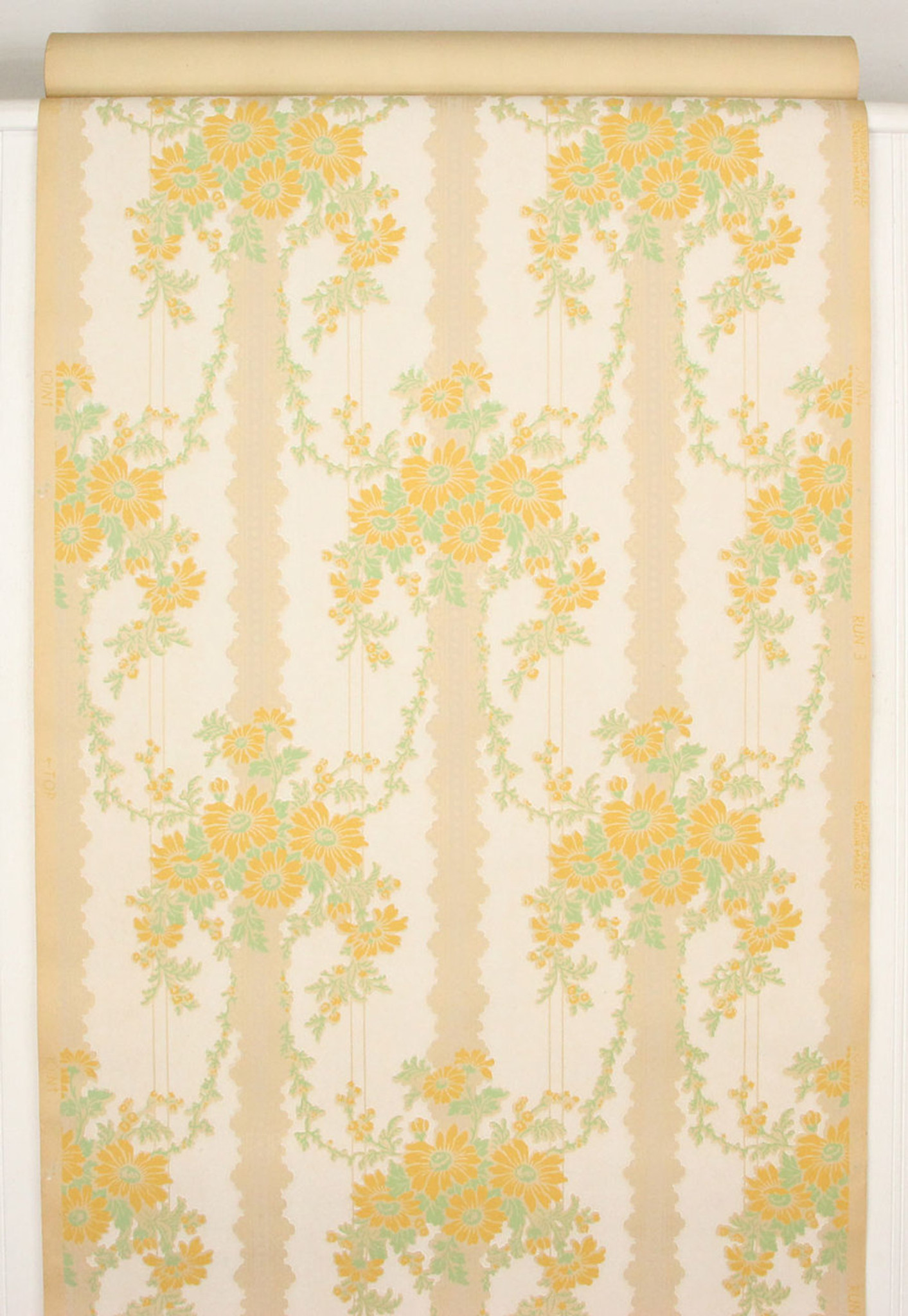 1930s Vintage Wallpaper Yellow Flower Bouquets Rosie S Vintage