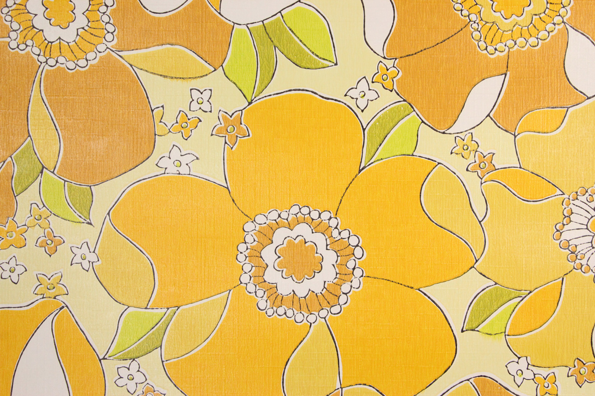 1970s Retro Vintage Wallpaper Large Yellow Flowers Rosie S