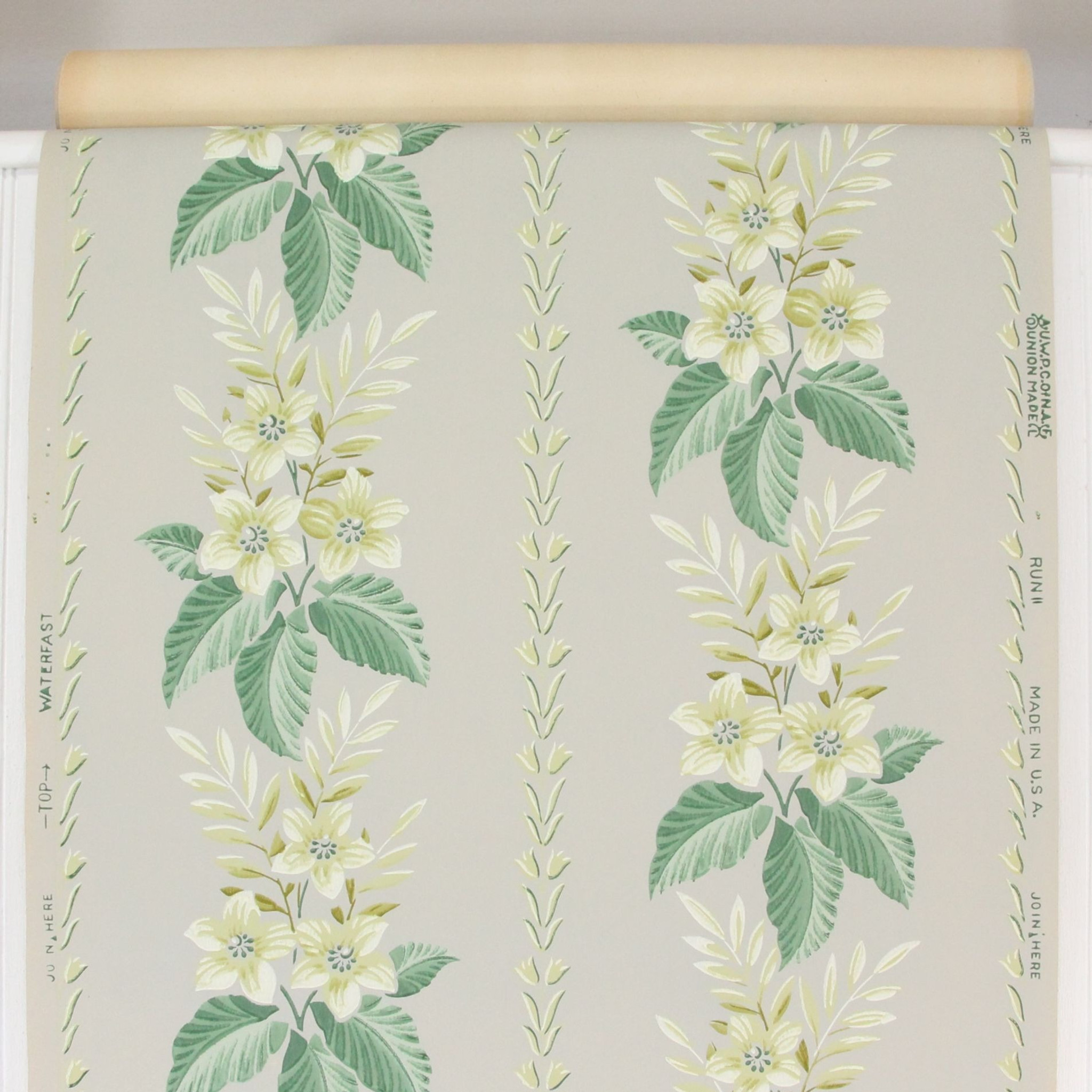 1940s Vintage Wallpaper Yellow Floral On Gray Rosie S Vintage