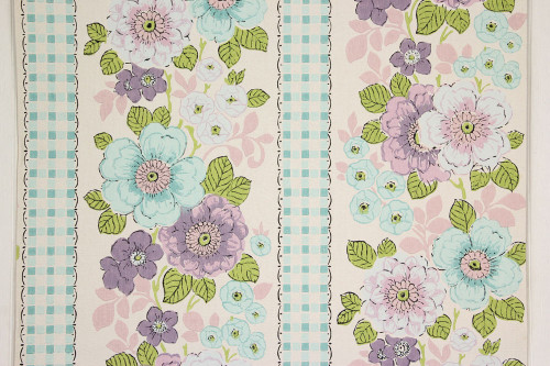 1960s Vintage Wallpaper Aqua and Purple Flowers with Check