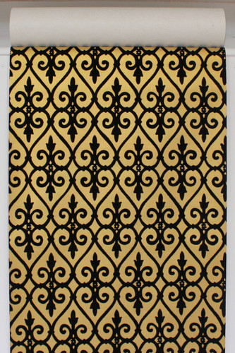 1970s Vintage Wallpaper Black and Gold Flock Damask Design