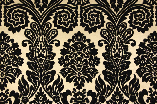 1970s Vintage Wallpaper Black Flocked Design on Gold