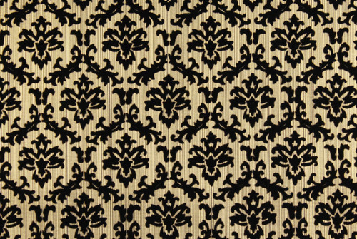 1970s Vintage Wallpaper Black and Gold Flock Small Damask Design
