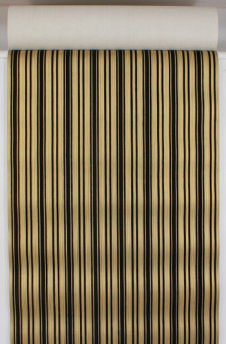 1970s Vintage Wallpaper Black and Gold Flock Stripe