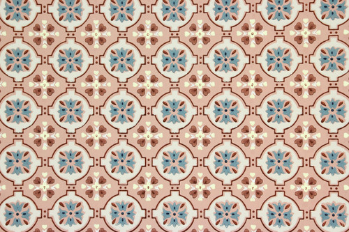 1940s Vintage Wallpaper Blue and White Geometric on Mauve