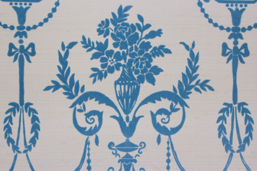 1970s Vintage Wallpaper Blue Flock Victorian Design