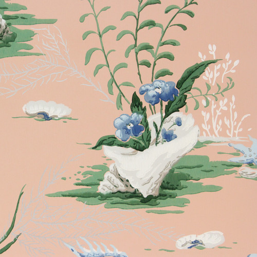 1940s Vintage Wallpaper Blue Flowers and Sea Horse