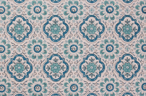 1970s Vintage Wallpaper Blue Geometric on White