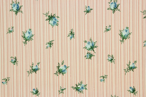 1940s Vintage Wallpaper Blue Rosebuds on Pink Stripe