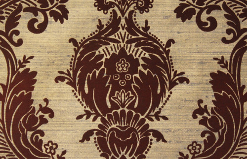1970s Vintage Wallpaper Brown and Gold Flock Large Damask Design