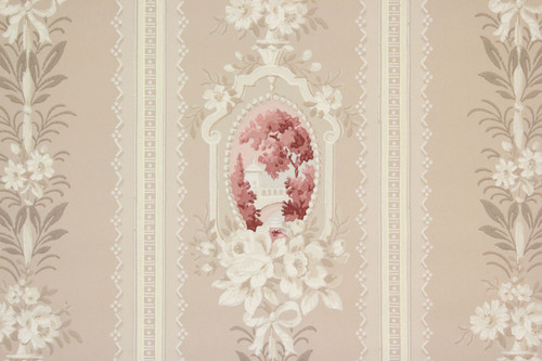 1930s Vintage Wallpaper Cameo Scenic Red