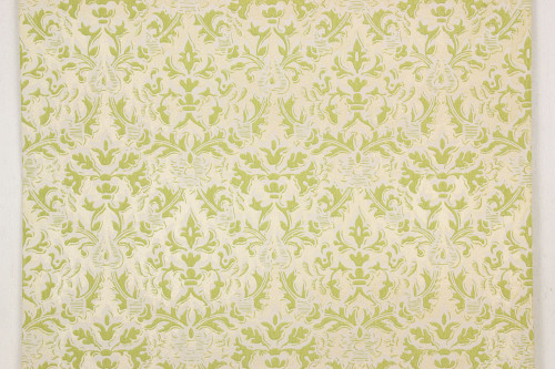 1960s Vintage Wallpaper Damask Design Green on Gold