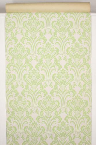 1960s Vintage Wallpaper Damask Design Lime Green
