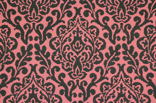 1970s Vintage Wallpaper Pink and Black Damask