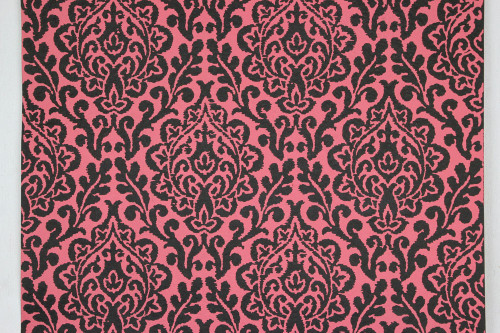 1970s Vintage Wallpaper Pink and Black Damask