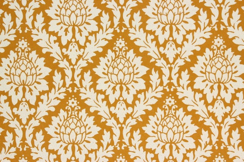 1960s Vintage Wallpaper White on Caramel Damask Design