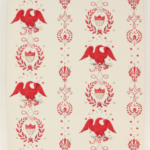 1970s Vintage Wallpaper Eagles Americana Red