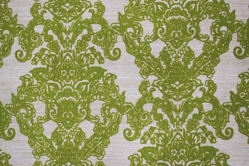 1970s Vintage Wallpaper Flock Green Damask Design