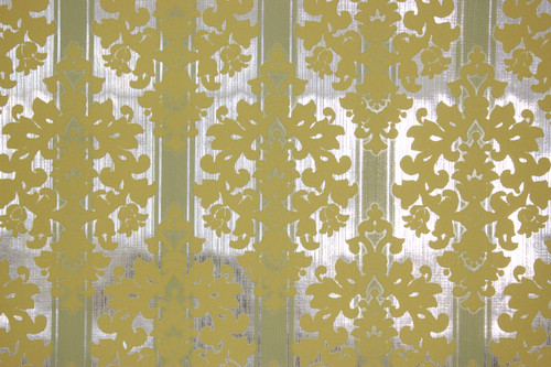 1970s Vintage Wallpaper Yellow Flock Design on Foil