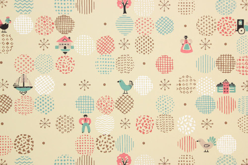 1940s Vintage Wallpaper Folk Art Pink and Aqua