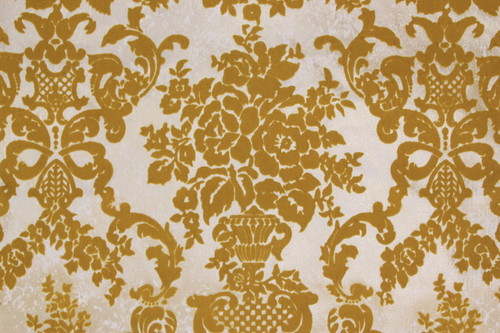 1970s Vintage Wallpaper Gold Flock Damask Design