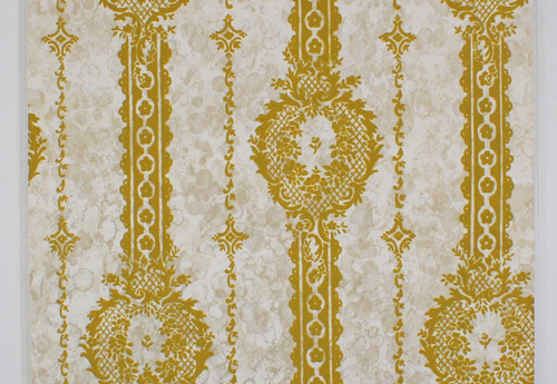 1970s Vintage Wallpaper Gold Green Flock Design on Marble