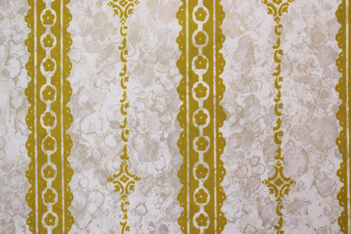 1970s Vintage Wallpaper Gold Green Flock on Marble