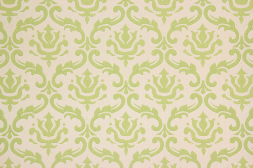 1960s Vintage Wallpaper Green Damask on White