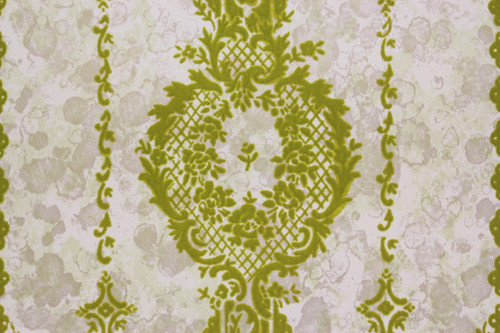 1970s Vintage Wallpaper Green Flock Design on Marble