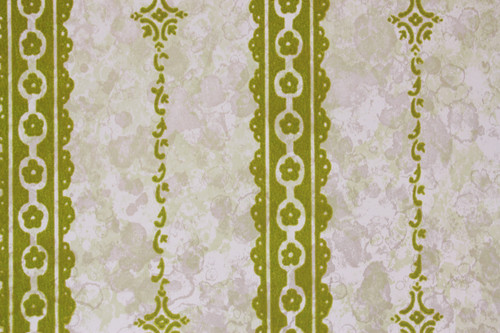 1970s Vintage Wallpaper Green Flock Stripe on Marble