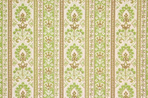1970s vintage wallpaper green floral stripe