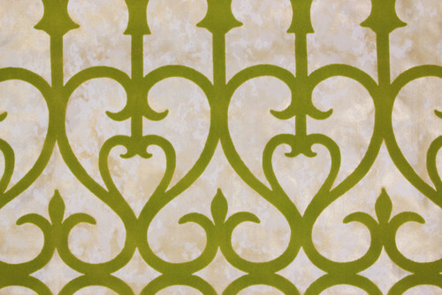 1970s Vintage Wallpaper Green Flock Grillwork