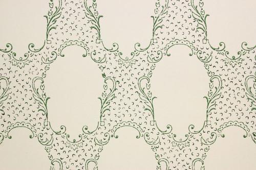 1960s Vintage Wallpaper Green Lace Design