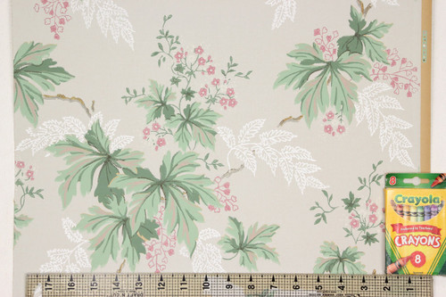 1930s Vintage Wallpaper Green Leaves and Small Pink Flowers