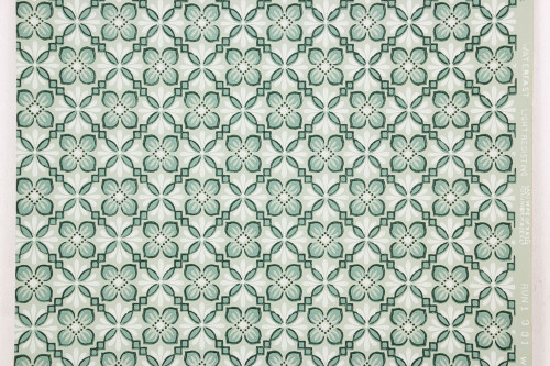 1940s Vintage Wallpaper Green on Green Geometric