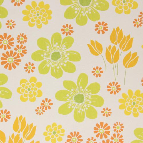 1960s Vintage Wallpaper Retro Green Orange Yellow Flowers Green Center